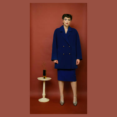 vintage 1980s Ted Lapidus blue wool double-breasted coat by FlowerInTheMirror