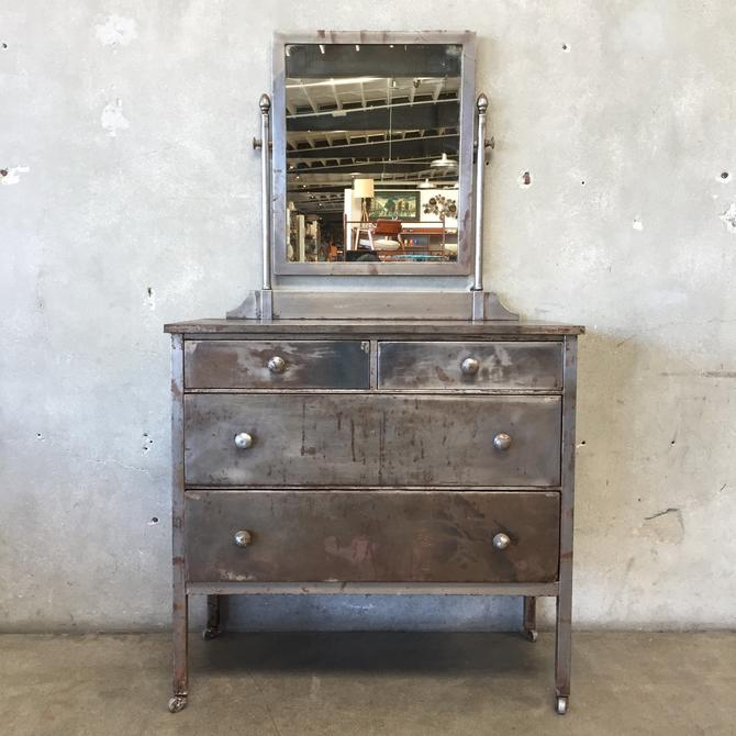 Vintage Metal Simmons Dresser With Mirror From Urban Americana Of