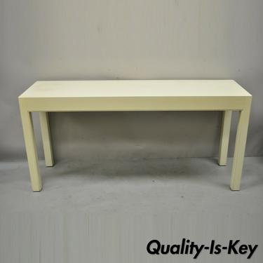 Vintage Modern Solid Wood Cream Lacquered Parsons Style Console Sofa Hall Table