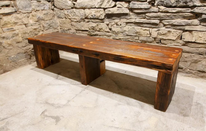 The Empire - Massive Timber and Slab Reclaimed Wood Modern Style Entryway Bench by BarnWoodFurniture