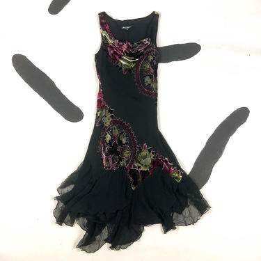 90s Betsey Johnson Velvet Floral Burnout Fluttery Dress / Cowl Neck / Handkerchief Hem / Asymmetrical / Size 6 / Paisley / Ruffle / Medium / by badatpettingcats