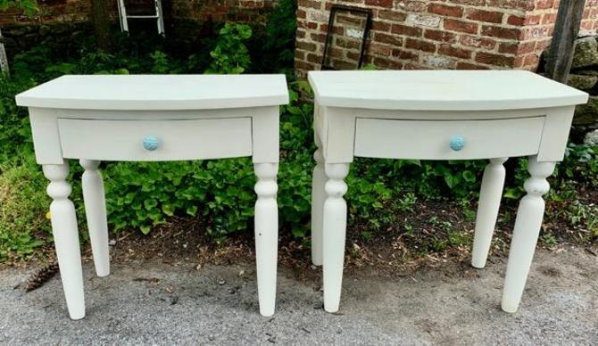 White Side Table with Blue Knob