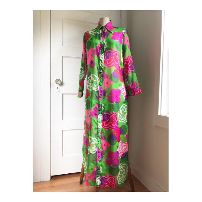 1960s Sheer Floral Statement Maxi Dress / Duster- size Med by VeeVintageShop