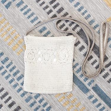 Vintage Early 2000s Y2K Crochet Crossbody Bag - Beige Floral Boho Purse by SecondShiftVintage