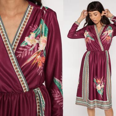 Floral Midi Dress 70s Wrap Burgundy Boho Chic 1970s Deep V Neck White Bohemian Vintage High Waist Retro Hippie Long Sleeve Medium by ShopExile