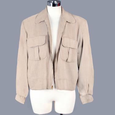 "40's, 50's Men's Vintage Jacket, Tan Gabardine Wool Coat, Rockabilly, Ricky Style, Padded Shoulders, Metal Zipper, 1950's Western, 42"" Chest by Boutique369"