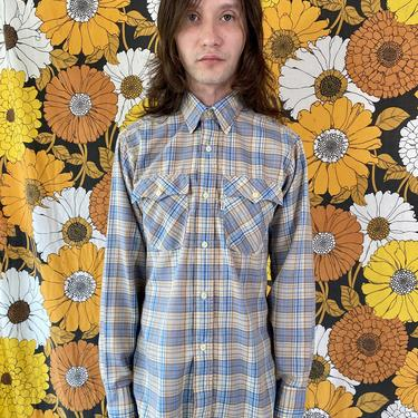 Blue and Tan Plaid Western Levi's Button Up!