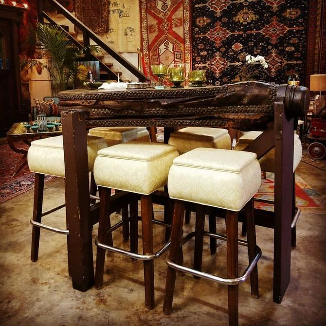 6 retro bar stools with antique bellows bar top table! $350 For all 6 chairs. $1,500 For the bellows bar table