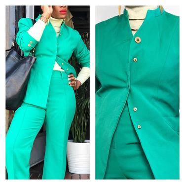 Vintage 1990s Does 1970s 90s 70s Pants Suit Set Two Piece Blazer High Waist Slit Flare Leg Collarless Jacket by KeepersVintage