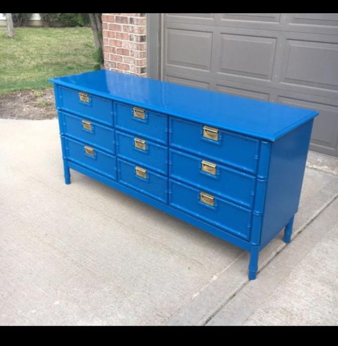 Faux bamboo lacquered dresser by Dianemarieshome