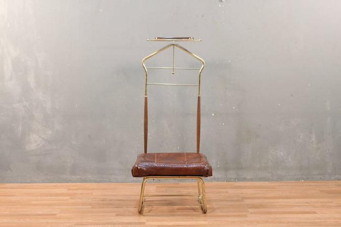 Pearl-Wick Brass & Vinyl Valet Chair – ONLINE ONLY
