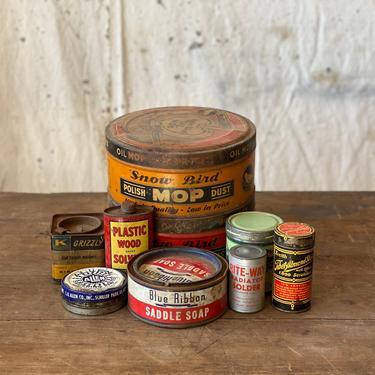 Vintage Set of Tins Household & Garage Products by NorthGroveAntiques