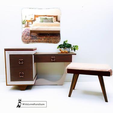 Mid Century Modern Vanity Bench Mirror Nightstand Set. MCM Desk Chair Mirror Bedside Table. Minimalist Furniture Set by withlovefurniture10