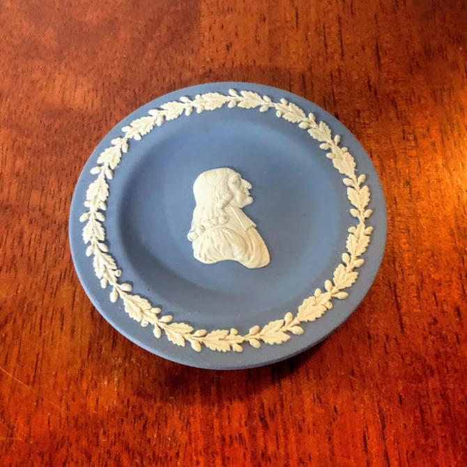 "Vintage Wedgwood Jasperware Cream on Pale Blue Puritan 4 1/2"" Round Tray by OverTheYearsFinds"