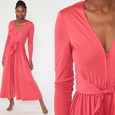 Pink Bell Bottom Jumpsuit 70s Jumpsuit Wide Leg Pants Boho Hippie V Neck Front Zip Disco Bohemian Vintage Pantsuit Long Sleeve Small by ShopExile