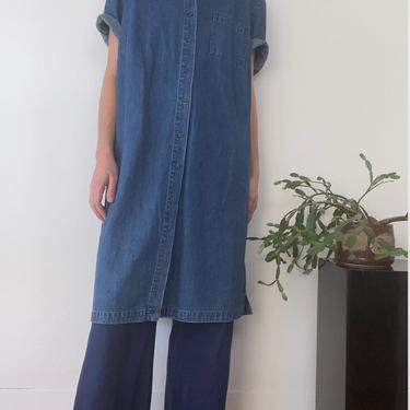 vintage denim blouse dress large by miragevintageseattle