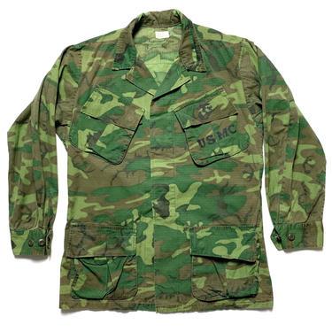 Vintage 1960s Vietnam War ERDL Rip-Stop Camouflage Poplin Shirt / Jacket ~ size S Regular ~ USMC Marine Corps ~ Jungle Coat ~ Stencil ~ by SparrowsAndWolves