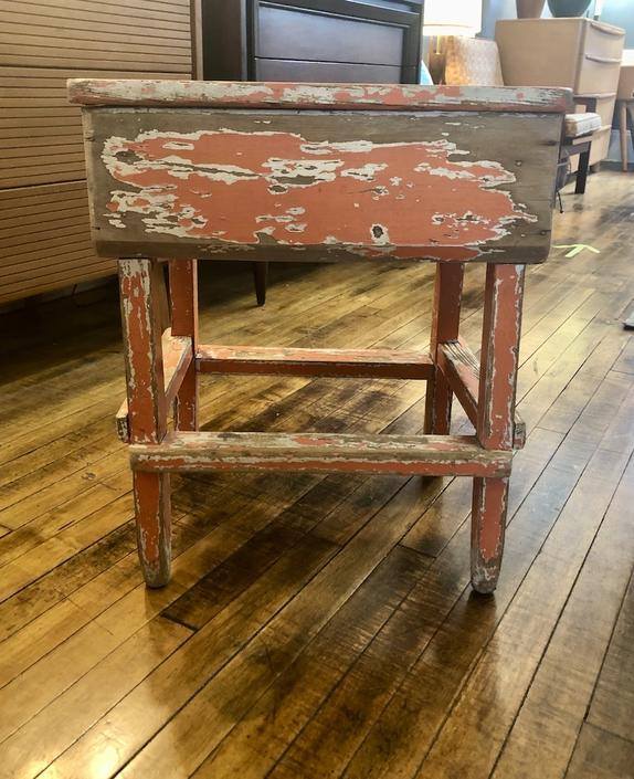 Primitive Side Table with Old Orange Paint