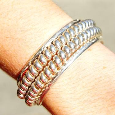 """Vintage Modernist Sterling Silver Cuff Bracelet, Heavy Coiled Silver Cuff With Accent Hammered Designs, Fine 925 Silver Jewelry, 5 1/2"""" L by shopGoodsVintage"""
