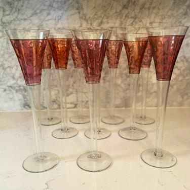 Pink Etched Scrolled Champagne Flutes - Set of 10 by AntiquetoChicChicago