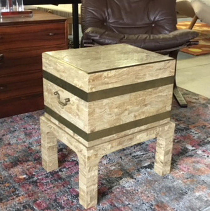 HA-C7630 Maitland Smith Tessalated Stone and Brass Chest
