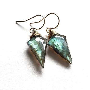 Rhombus Grey Moonstone Simple Earrings, Silver
