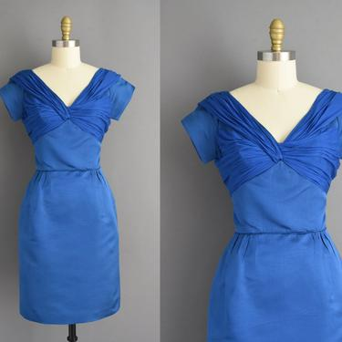 50s dress | Gorgeous Royal Blue bridesmaid cocktail party wiggle dress | Small | 1950s vintage dress by simplicityisbliss