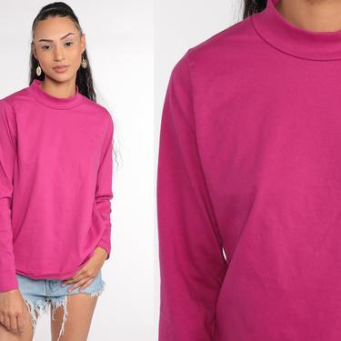 Bright Pink Shirt 90s Mock Neck Top High Neck Plain T Shirt 1990s Top Mock Neck Retro Tee Vintage Basic Normcore Long sleeve Medium by ShopExile