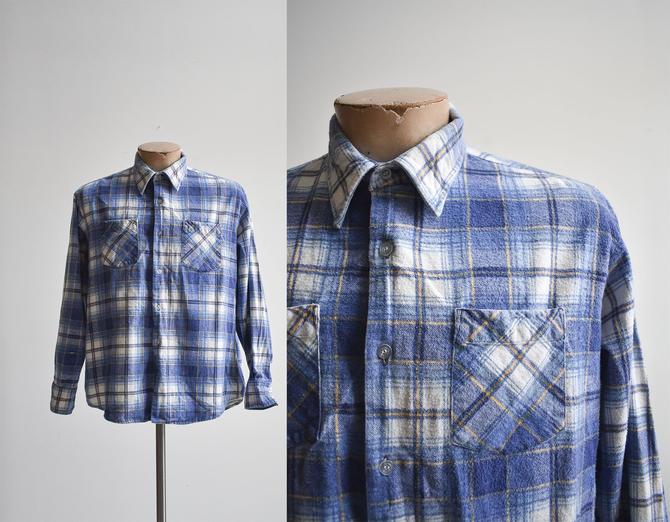 Vintage Blue Plaid Flannel Shirt by milkandice