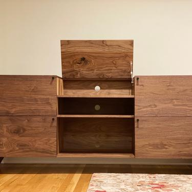 READY TO SHIP - Solid Walnut Flip Top Record Console by ADCOWoodWorks