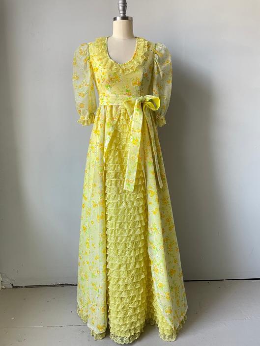 1970s Dress Chiffon Floral Maxi Gown XS by dejavintageboutique