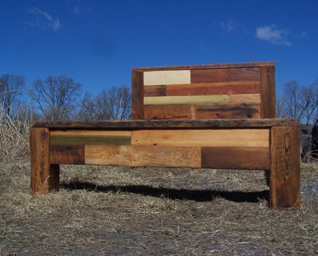 Colorful patchwork quilt reclaimed wood bed frame by for Reclaimed wood dc