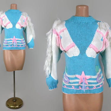 VINTAGE 1980s Wild & Wonderful Novelty Horse Sweater | 80s Pony Sweater With Fringe Manes | Little Pony Brony Ugly Sweater | Sister Sister by IntrigueU4Ever