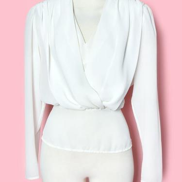 Vintage White Blouse, Sheer Long Sleeves, 1980's Surplus V Neckline, Marilyn Monroe Style Niagra, Padded Shoulders Top Shirt Secretary by Boutique369