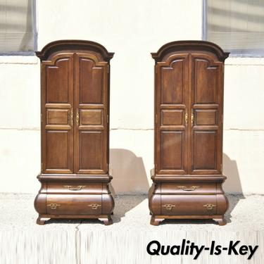 Warsaw Cabinetmaker French Provincial Bonnet Top Bombe Armoire Cabinets - a Pair