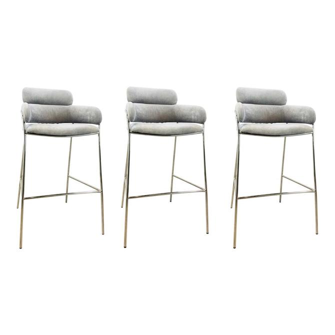 Interlude Home Modern Gray Velvet Counter Stools - Set of 3