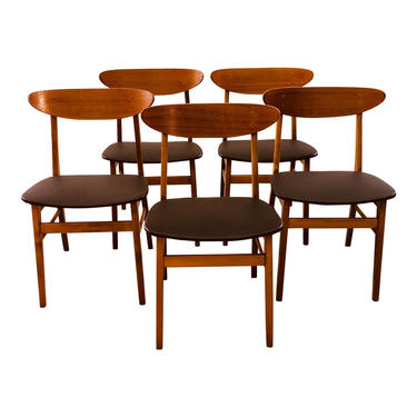 Vintage Danish Farstrup Teak & Beech Dining Chairs, Set of 5 by 2bModern