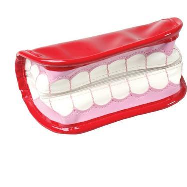 Funny Teeth & Tongue Red Vinyl Wristlet by AllMyItems