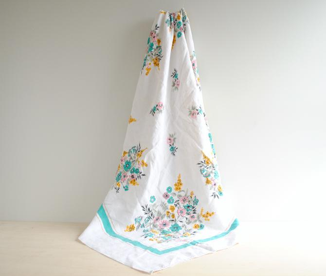 """Vintage Linen Tablecloth 47"""" x 50"""", White with a Floral Pattern in Turquoise, Pink, Yellow, and Black by LittleDogVintage"""