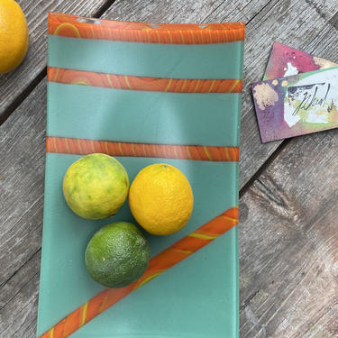 Teal and Citrus Striped Square Glass Catchall Display Serving Plate One of a Kind by MadeByRheal