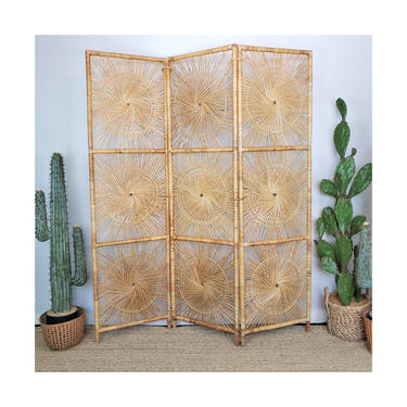 RESERVED FOR ABBIE   Shipping profile only for Vintage Rattan Sunburst Screen   Boho Wicker Room Divider   Mcm Bamboo Partition Collapsible by SavageCactusCo