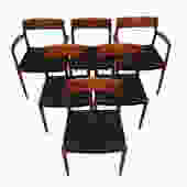 Set of 6 (2 Arm + 4 Side) Danish #77 Teak Niels Moller Dining Chairs