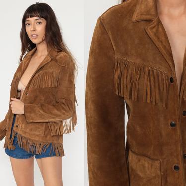 Fringe Leather Jacket 70s Boho Vintage Suede Southwest Jacket Western Brown Hippie Coat Vintage Biker Bohemian Jacket 1970s Women's Small S by ShopExile
