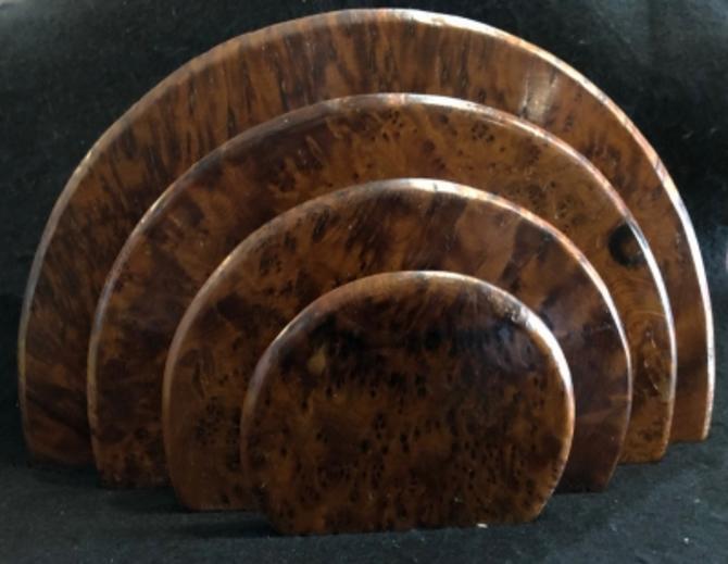 Art Deco Era Half Circle Burl Wood Letter Rack Holder for DeskCirca