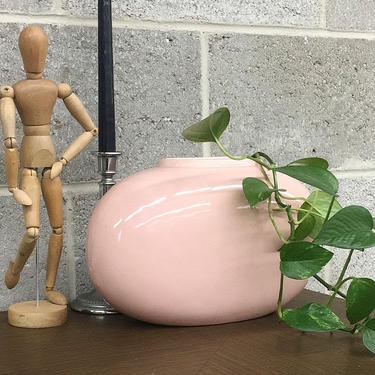 Vintage Vase Retro 1990s Contemporary + Light Pink Ceramic + Oval Shape +Table and Bookshelf Decor + Indoor Planter or Pot + Home Decor by RetrospectVintage215