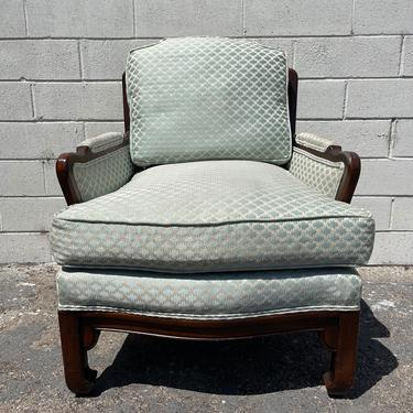 Vintage Armchair Ming James Mont Style Chair Chinese Chippendale Regency Wood Upholstered Chinoiserie Seating Mid Century CUSTOM PAINT AVAIL by DejaVuDecors