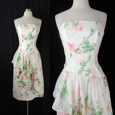 Vintage Eighties White Rose Print Cotton Strapless Peplum Dress - 80s XXS Lightweight Boned Floral Ruffle Dress by JanetandJaneVintage