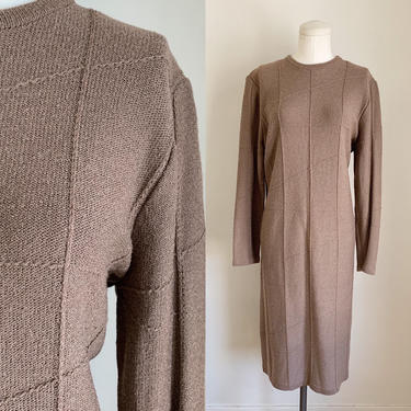 Vintage 1980s Cocoa Brown Sweater Dress / L-XL by MsTips