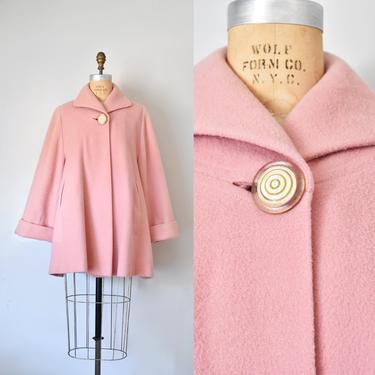 Beah 50s pink wool coat, wool coat women, box coat, pink coat, vintage clothing by ErstwhileStyle