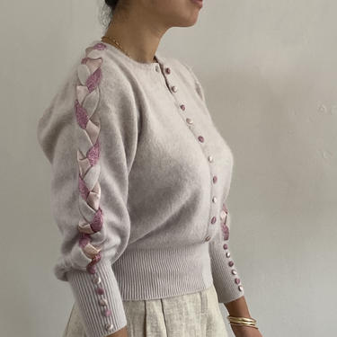 90s angora braided sweater / vintage dusty mauve pink angora rabbit hair cropped braided embellished sleeve fuzzy henley sweater   S M by RecapVintageStudio